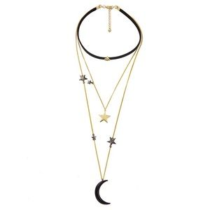 Triple Layer Moon and Stars Necklace